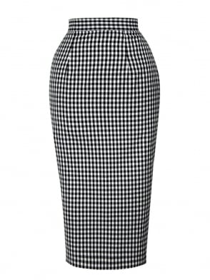 Pencil Skirt Black Gingham