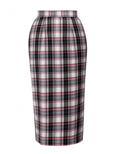 Pencil Skirt Black Pink White Tartan