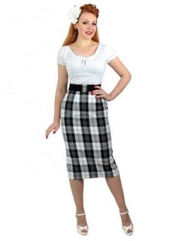 Pencil Skirt Black White Tartan