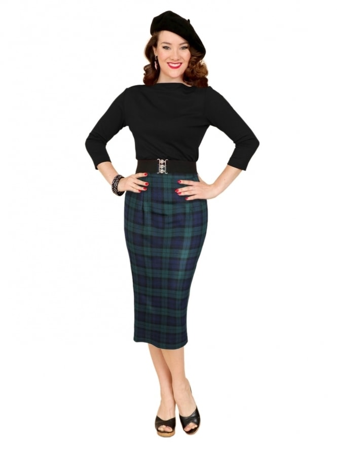 50s-1950s-Vivien-of-Holloway-Best-Vintage-Style-Reproduction-Pencil-Skirt-Blackwatch-Rockabilly-Swing-Pinup
