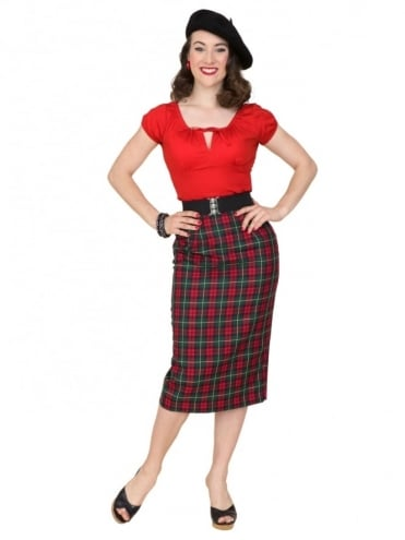 Pencil Skirt Bottle Tartan
