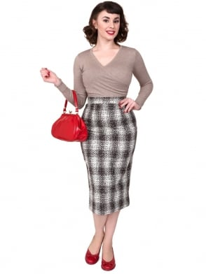 Pencil Skirt Brown Plaid