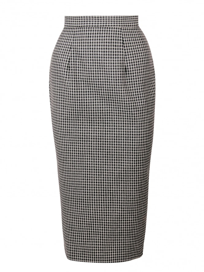 Pencil Skirt Check Black