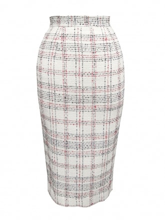Pencil Skirt Cream Plaid