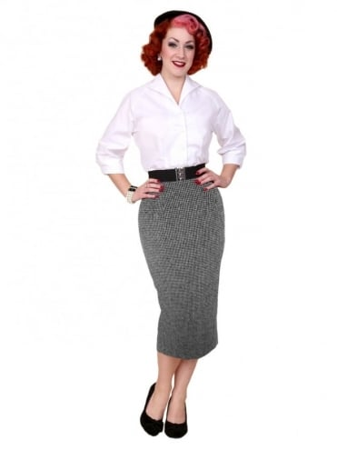 Pencil Skirt Dogtooth Black