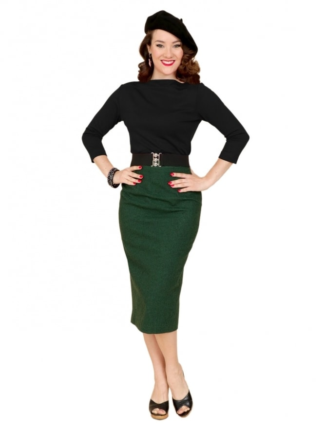 Pencil Skirt Dogtooth Green