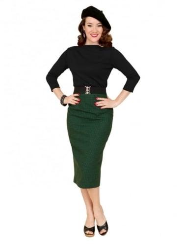 Pencil Skirt Dogtooth Green