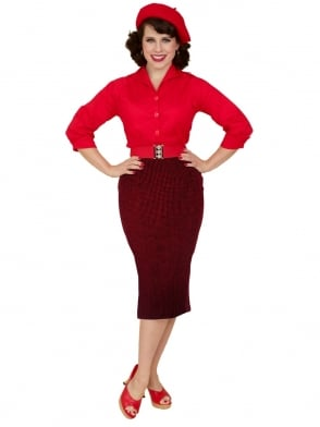 Pencil Skirt Dogtooth Red