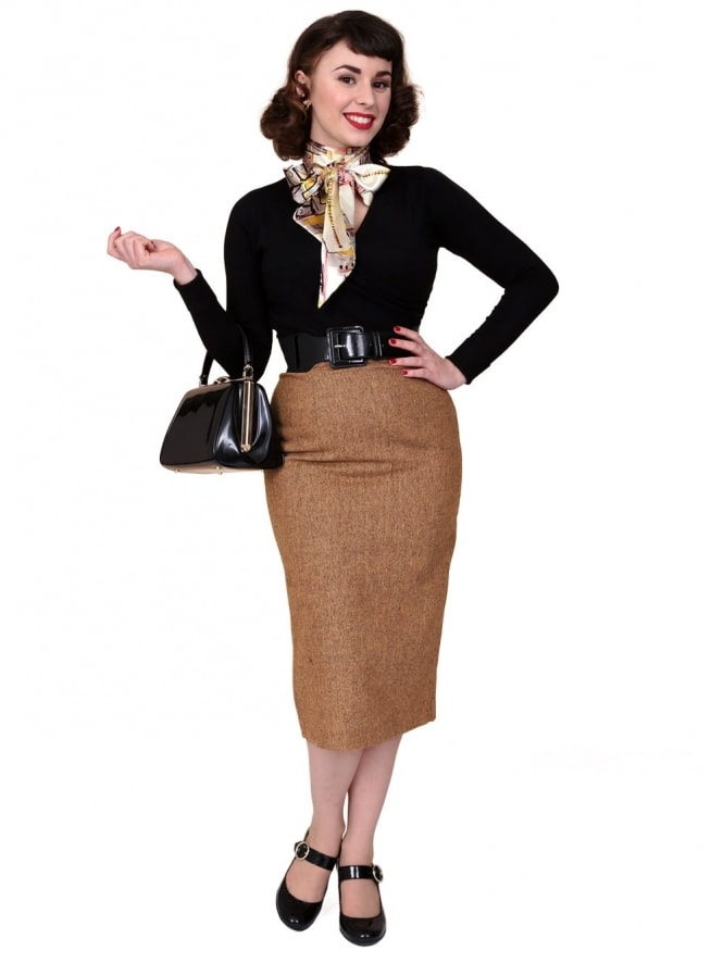 Pencil Skirt Donegal Bronze