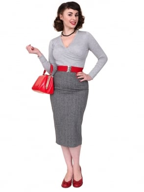 Pencil Skirt Donegal Fleck Black