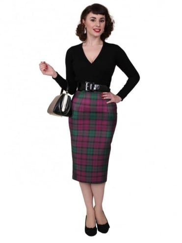50s-1950s-Vivien-of-Holloway-Best-Vintage-Reproduction-Pencil-Skirt-Heather-Tartan-Print-Rockabilly-Swing-Pinup