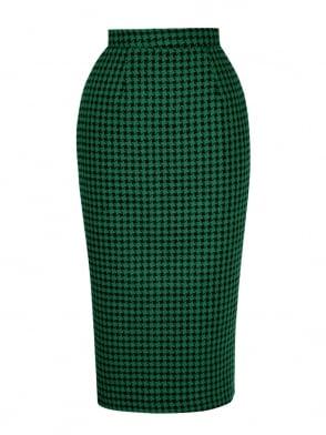 Pencil Skirt Large Dogtooth Green