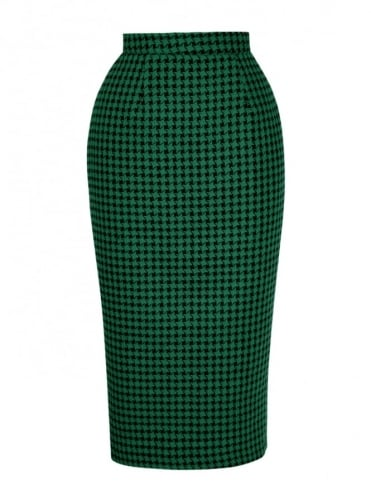 50s-1950s-Vivien-of-Holloway-Best-Vintage-Reproduction-Pencil-Skirt-Large-Dogtooth-Green-Print-Rockabilly-Swing-Pinup