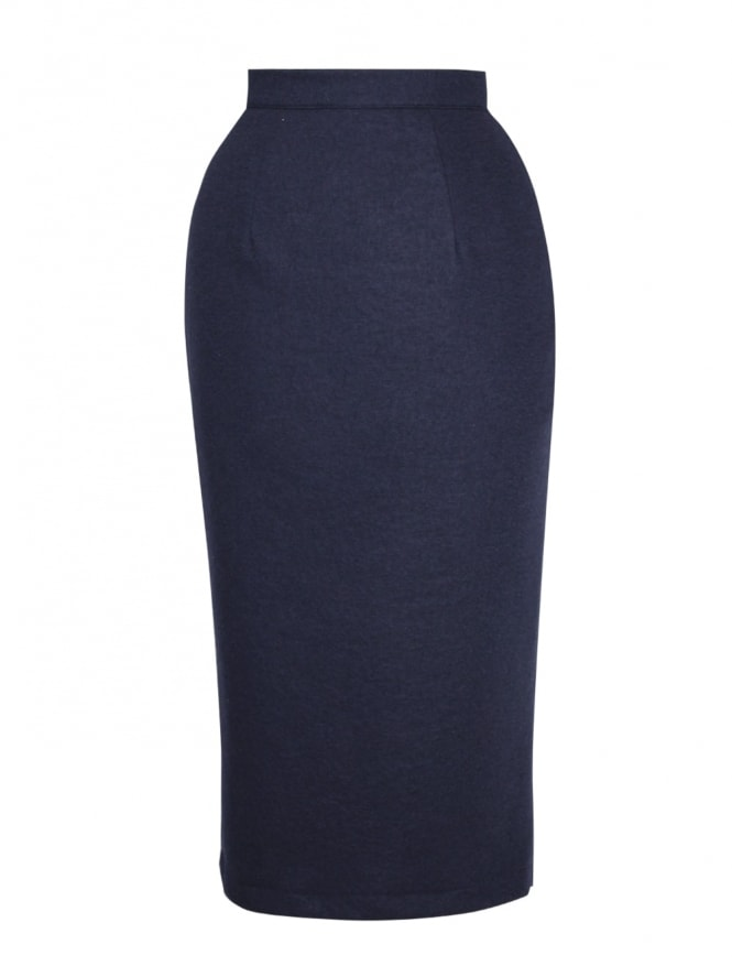 Pencil Skirt Navy Flannel