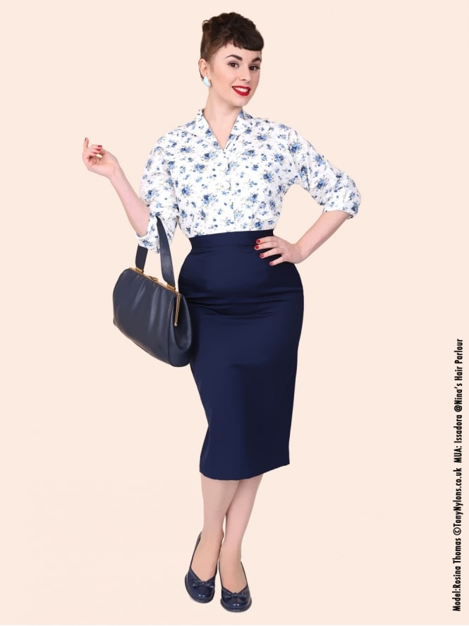 Pencil Skirt Navy Suiting