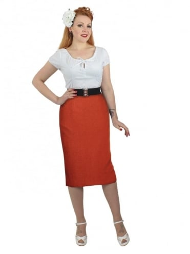 50s-1950s-Vivien-of-Holloway-Best-Vintage-Style-Reproduction-Repro-Pencil-Skirt-Lined-Pumpkin-Flannel-Rockabilly-Swing-Pinup