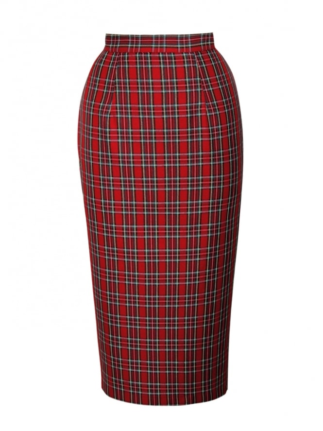50s-1950s-Vivien-of-Holloway-Best-Vintage-Style-Reproduction-Repro-Pencil-Skirt-Small-Red-Tartan-Rockabilly-Swing-Pinup