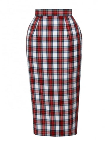 Pencil Skirt White Red Tartan