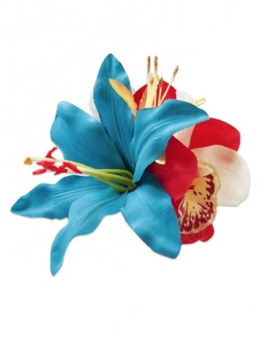 Pin-Up Hair Flower Lily Blue Red