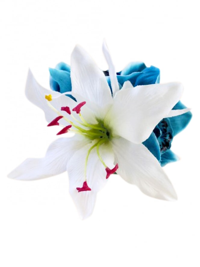 Pin-Up Hair Flower Lily White Turquoise