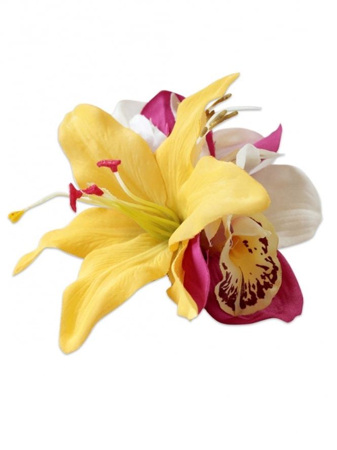 Pin-Up Hair Flower Lily Yellow Fuchsia