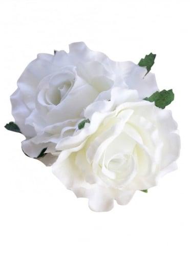 Pin-Up Hair Flower Roses White
