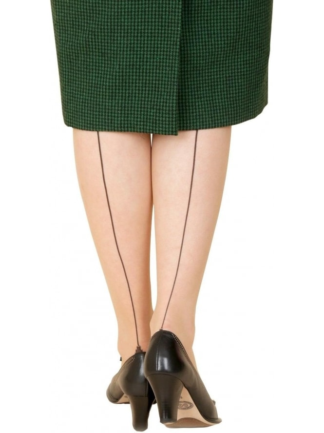 Pin Up Seamed Tights - Nude/Black