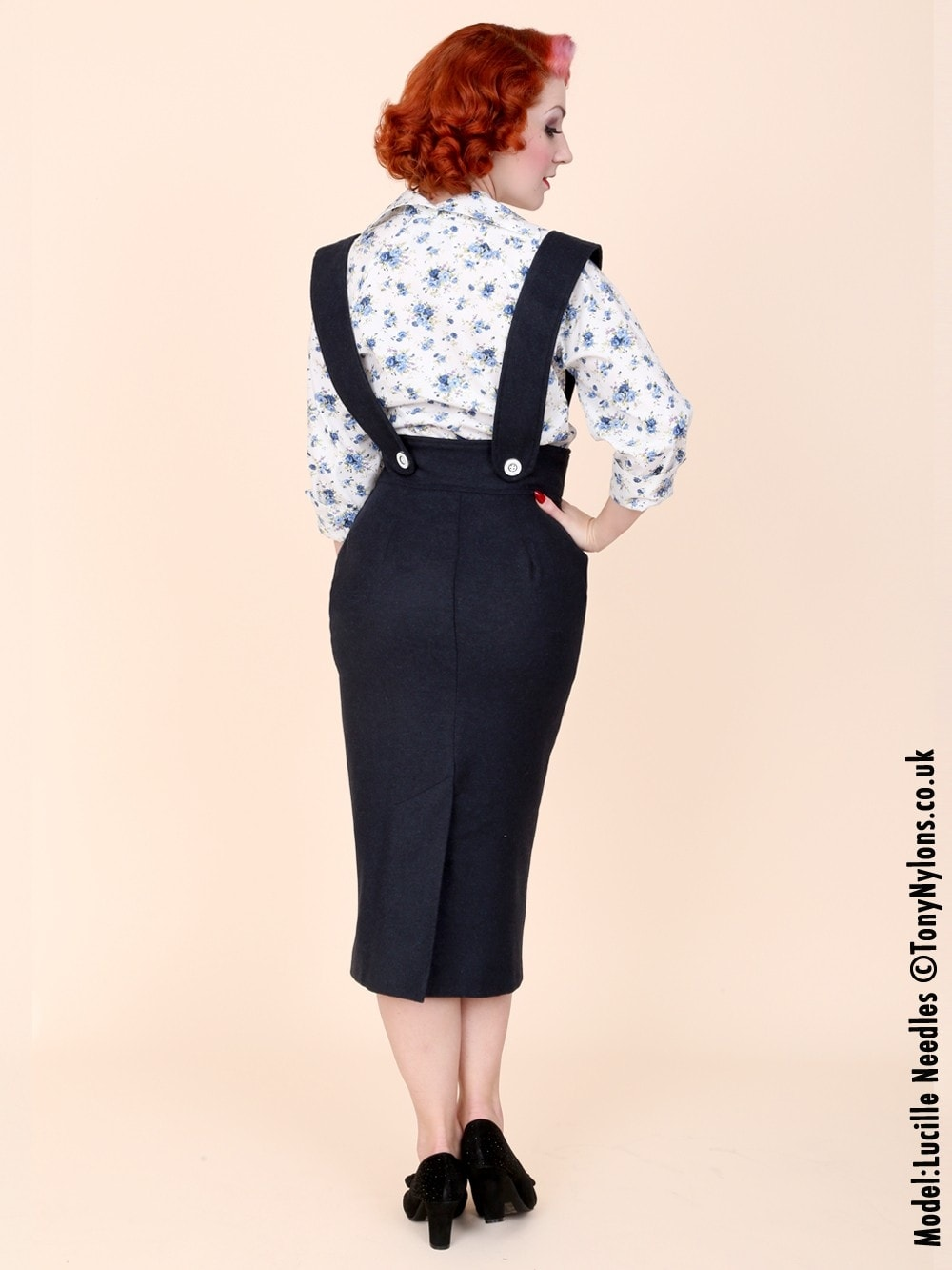 6fa7e7f7a842 Pinafore Skirt Navy Flannel from Vivien of Holloway