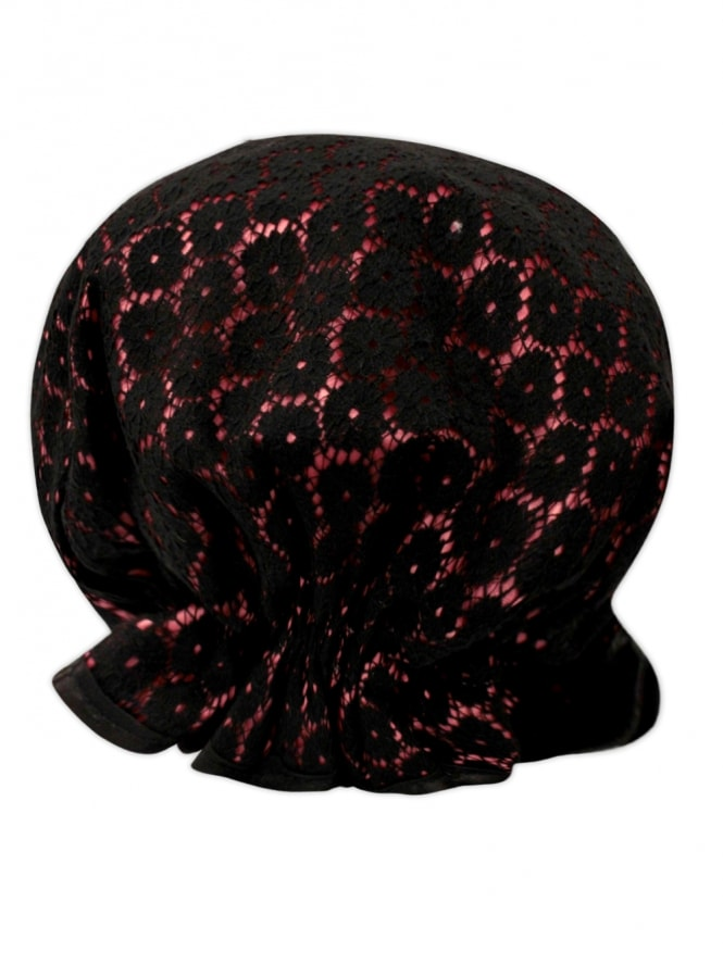 Pink and Black Lace Shower Cap