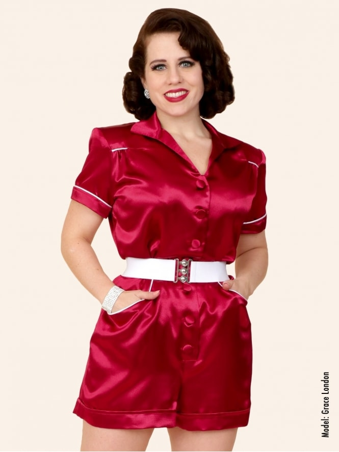 40s-1940s-Vivien-of-Holloway-Best-Vintage-Style-Reproduction-Playsuit-Burgundy-Red-Crepe-Satin-Swing-Pinup-Rockabilly
