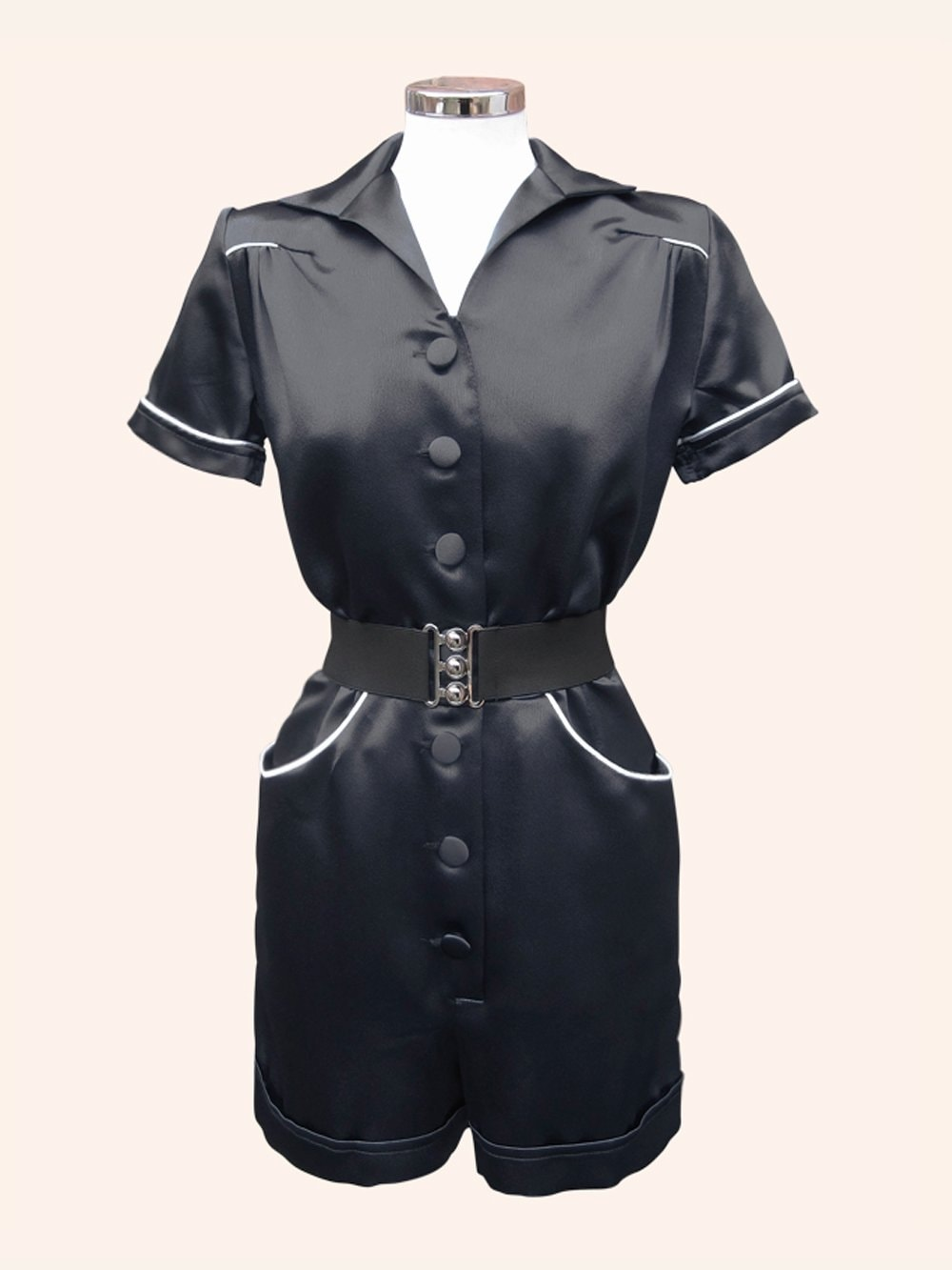 b31e8eac789 Playsuit Crepe Black Satin from Vivien of Holloway