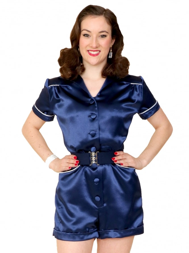 Playsuit Crepe Navy Satin
