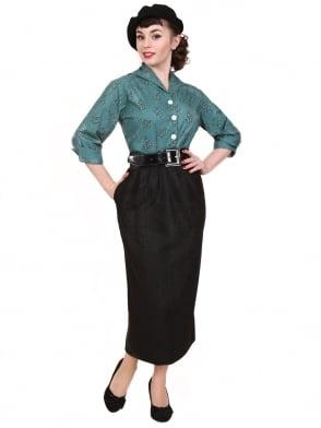 Pocket Pencil Skirt Black Flannel