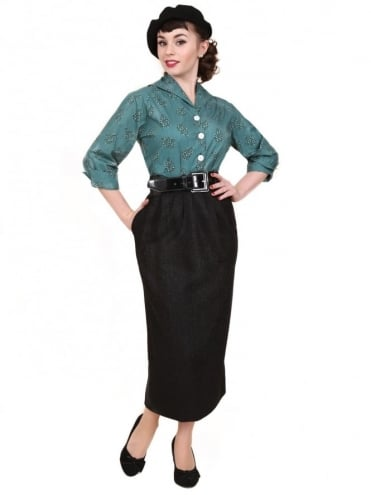 50s-1950s-Vivien-of-Holloway-Best-Vintage-Style-Reproduction-Repro-Pocket-Pencil-Skirt-Black-Flannel-Rockabilly-Swing-Pinup