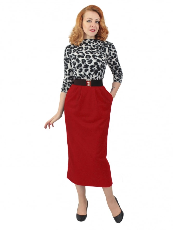 Pocket Pencil Skirt Red Flannel