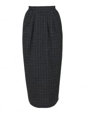 Pocket Skirt Check Black