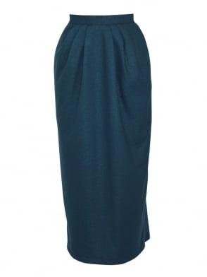 Pocket Skirt Teal Flannel