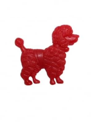 Poodle Brooch Red