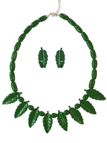 Leaf necklace and earrings set - Dark Green