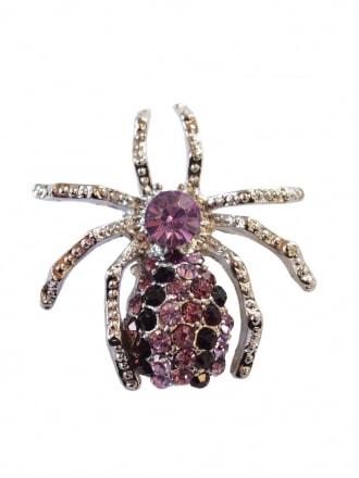 Purple Diamante spider Brooch
