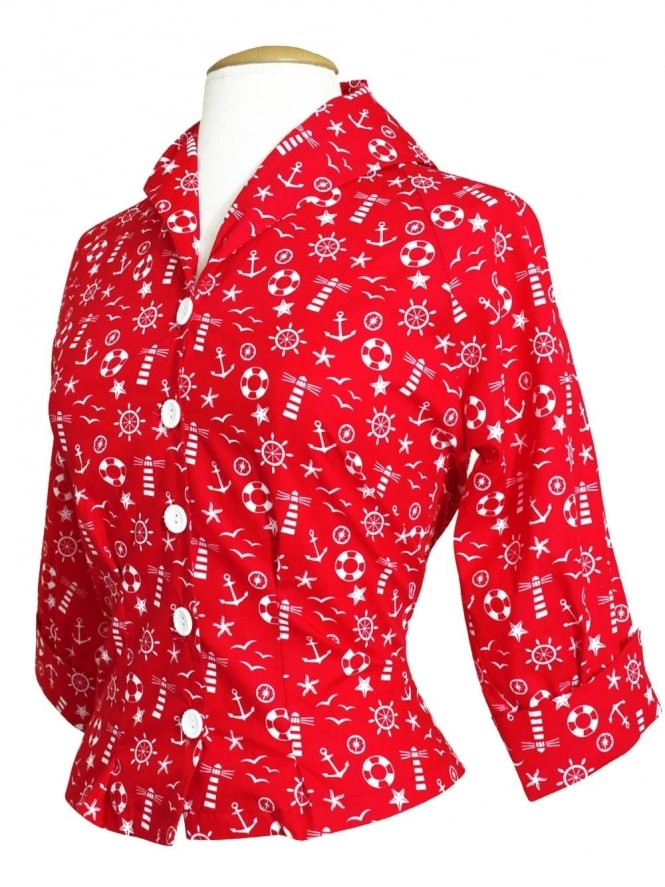 50s-1950s-Vivien-of-Holloway-Best-Vintage-Reproduction-Raglan-Blouse-Anchor-Red-White-Nautical-Rockabilly-Swing-Pinup