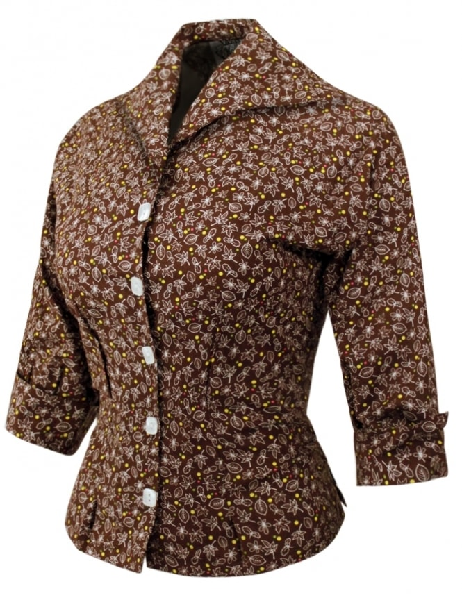 50s-1950s-Vivien-of-Holloway-Best-Vintage-Reproduction-Raglan-Blouse-Autumn-Leaf-Brown-Rockabilly-Swing-Pinup