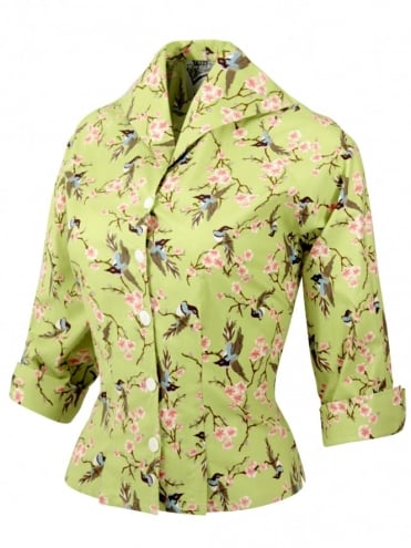 Raglan Blouse Bird Lime