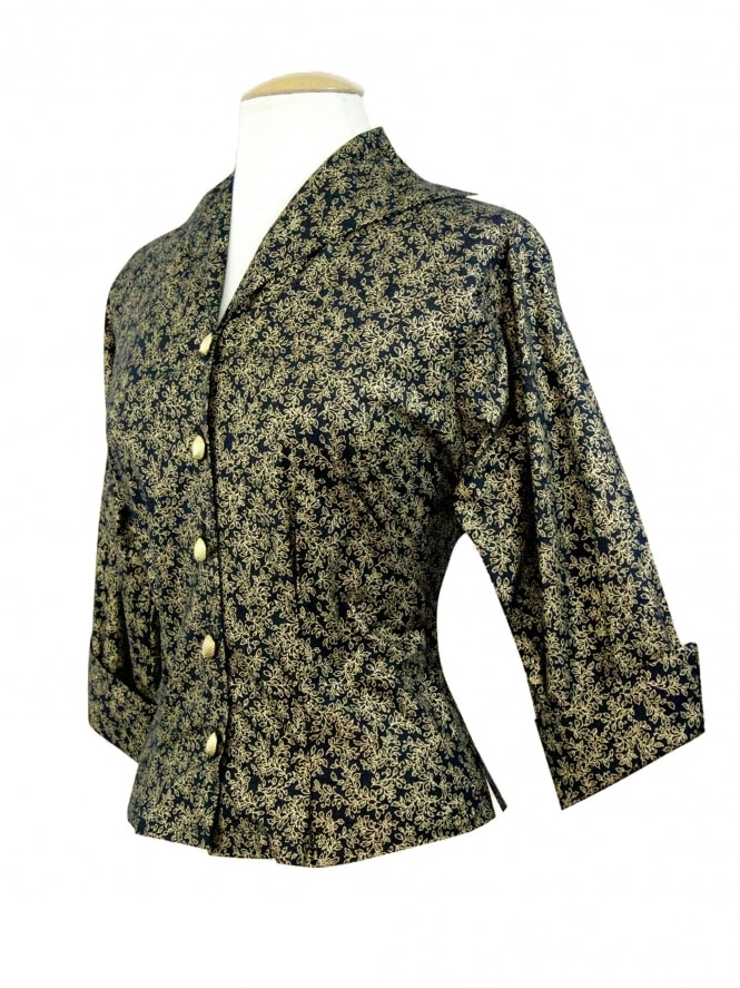 Raglan Blouse Black Gold Floral