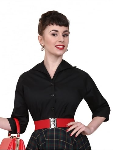 50s-1950s-Vivien-of-Holloway-Best-Vintage-Reproduction-Raglan-Blouse-Black-Cotton-Rockabilly-Swing-Pinup