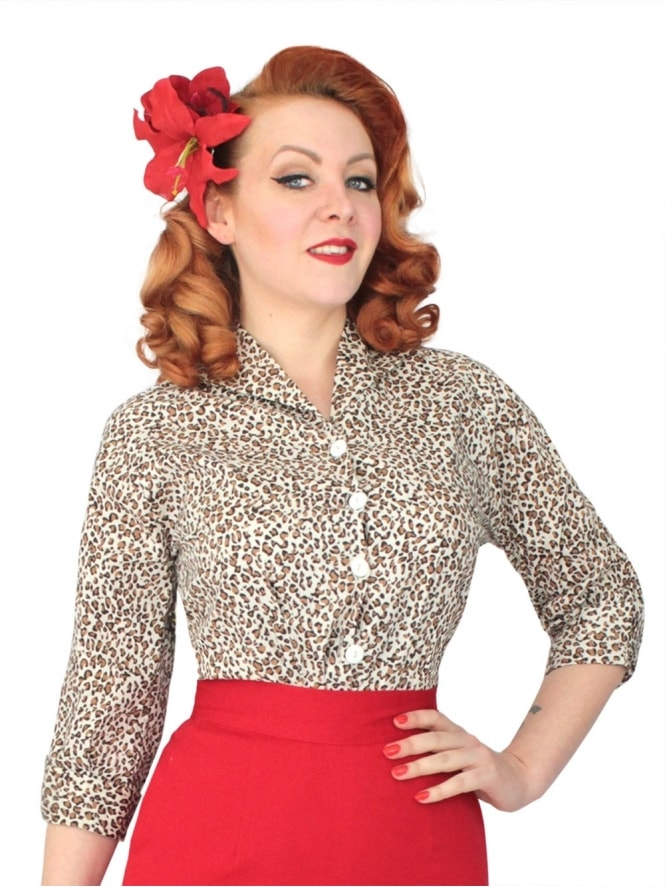 50s-1950s-Vivien-of-Holloway-Best-Vintage-Reproduction-Raglan-Blouse-Brown-Leopard-Cotton-Rockabilly-Swing-Pinup
