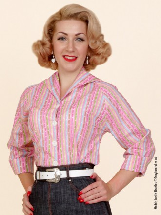 50s-1950s-Vivien-of-Holloway-Best-Vintage-Reproduction-Raglan-Blouse-Candy-Pink-Multi-Stripe-Rockabilly-Swing-Pinup