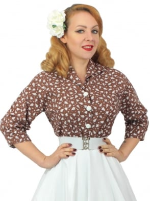 Raglan Blouse Christmas Tree Brown