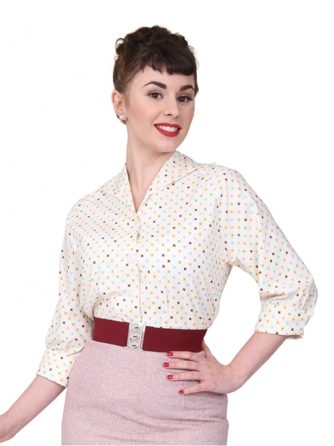 50s-1950s-Vivien-of-Holloway-Best-Vintage-Reproduction-Raglan-Blouse-Diamond-White-Cotton-Print-Rockabilly-Swing-Pinup