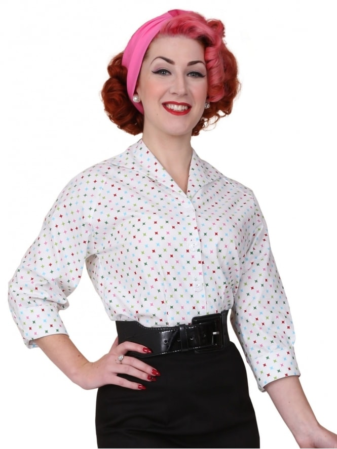 50s-1950s-Vivien-of-Holloway-Best-Vintage-Reproduction-Raglan-Blouse-White-Diamond-Cotton-Print-Rockabilly-Swing-Pinup